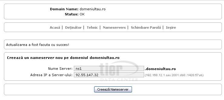 Creare name servere domenii .ro